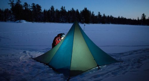 Winter camping with Outward Bound in the Boundary Waters of Minnesota. Photo by Larry Mishkar.