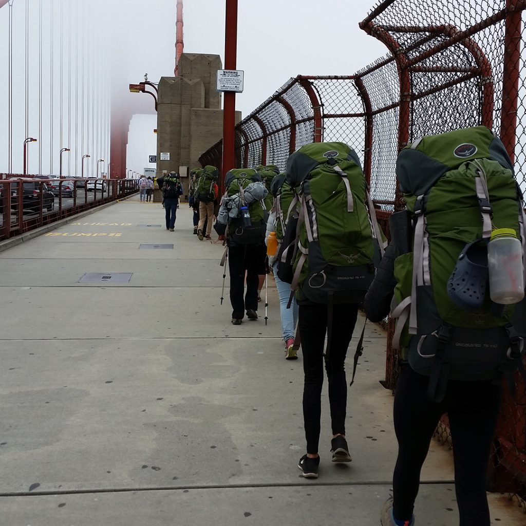 Students are shown on a Yosemite Backpacking to San Francisco Urban Service expedition.