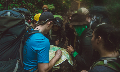 Students navigating on expedition.