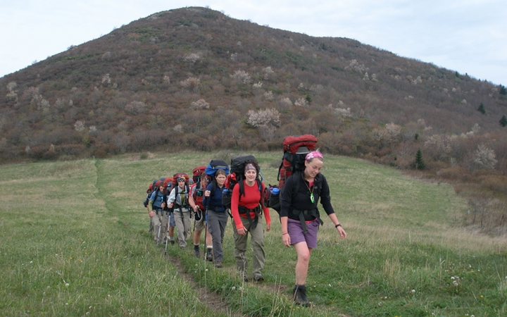 Hiking in the Blue Ridge Mountains on courses for future outdoor educators with Outward Bound
