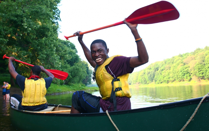 Outward Bound student canoeing