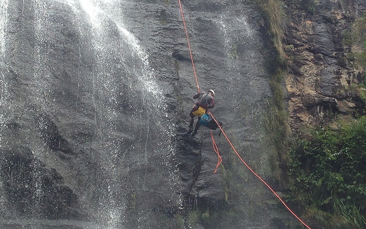 Rappelling waterfalls