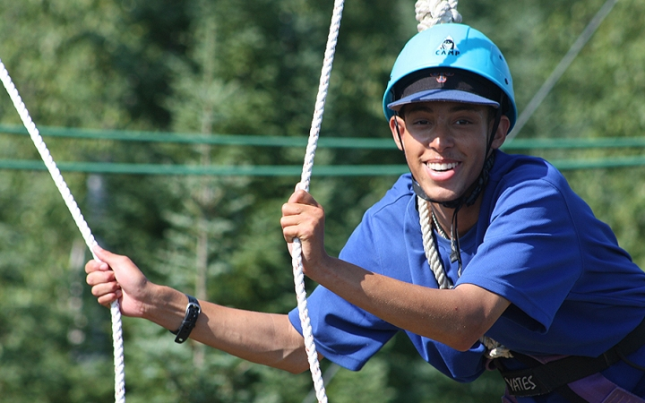 ropes course on outdoor leadership course