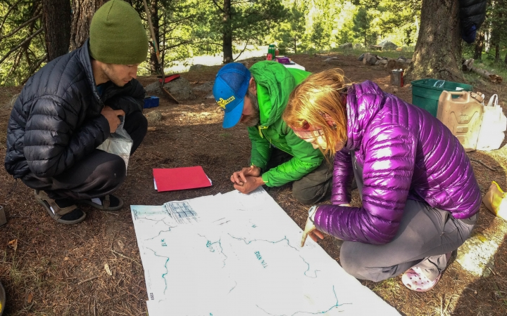 teens learn navigation skills on backpacking trip in colorado