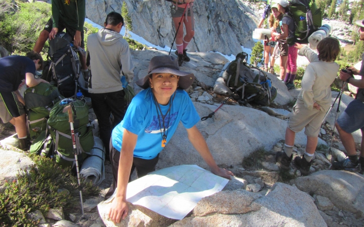 teens learn navigation skills on backpacking trip in california