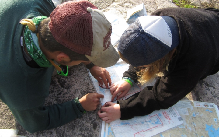 students learn navigations skills on outdoor leadership course