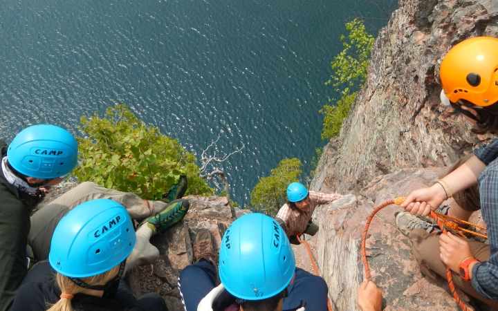 teens learn rock climbing skills on outdoor leadership course