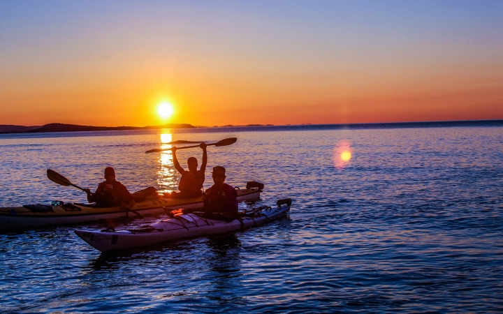adult sea kayaking trip on lake superior