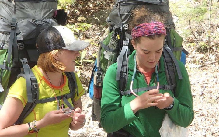 adults unplug on backpacking trip