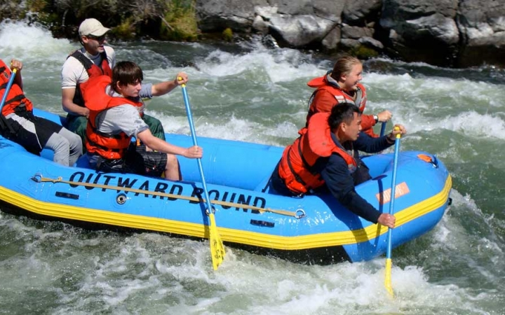 rafting on outdoor leadership course for teens