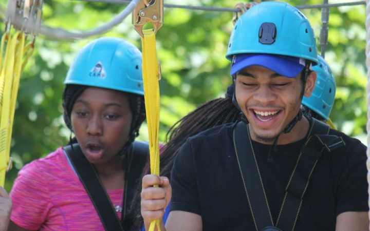 grieving teens on ropes course