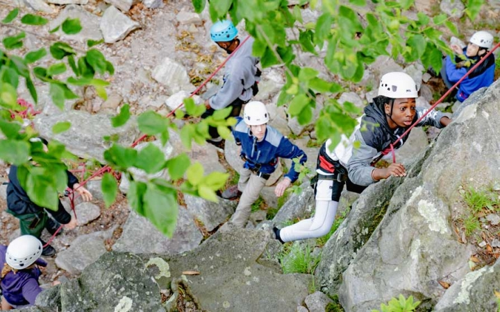 rock climbing teens outward bound
