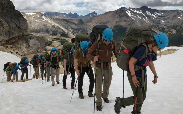 young adults mountaineering trip in patagonia