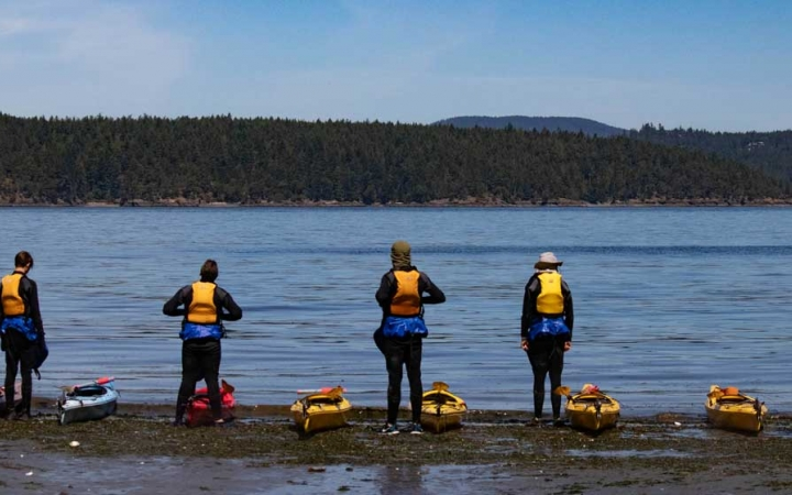 adult sea kayaking in the pacific northwest