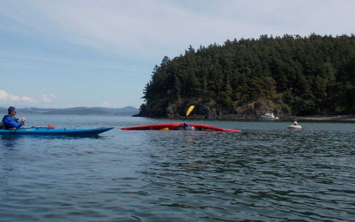 adults sea kayaking in san juan islands