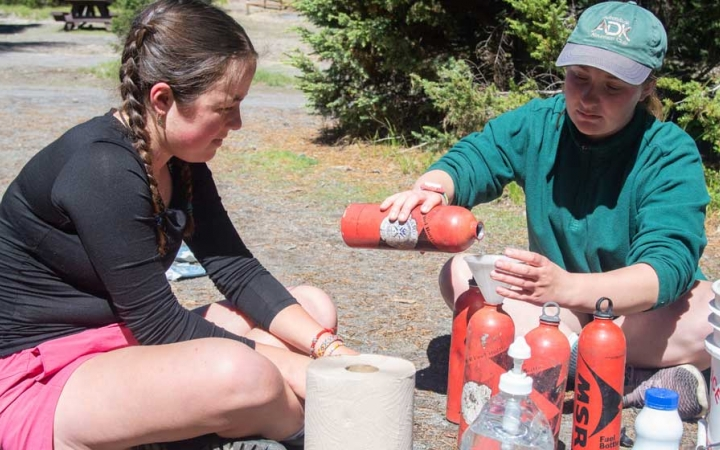 teens learn backpacking skills