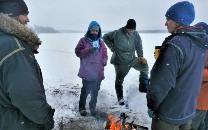 winter camping trip for adults