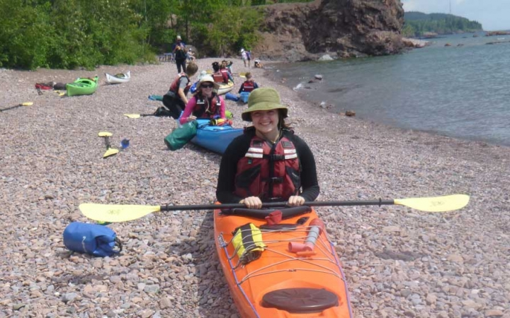 adult kayaking lessons on lake superior
