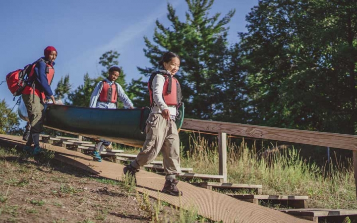 teens build character on canoeing course